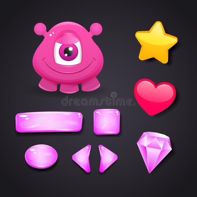 Interconecte los iconos para el diseño de juego con el monstruo y los recursos stock de ilustración