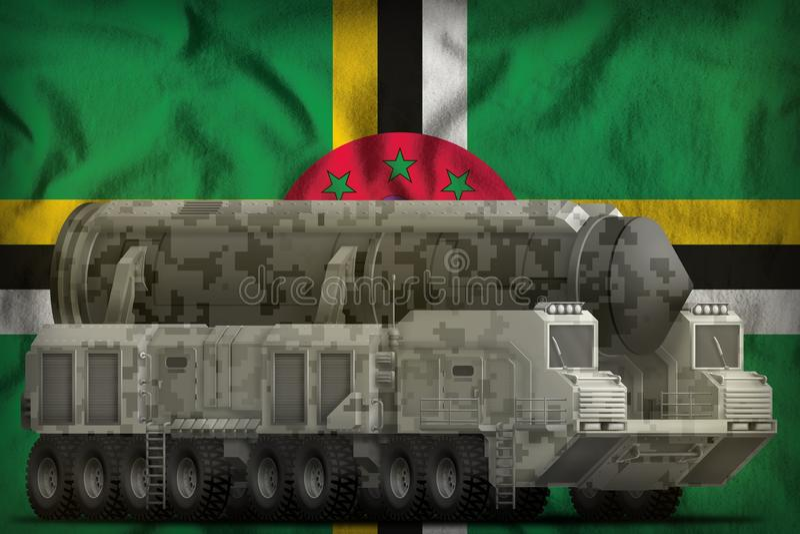 Intercontinentaal ballistisch projectiel met stadscamouflage op de Dominica nationale vlagachtergrond 3D Illustratie vector illustratie