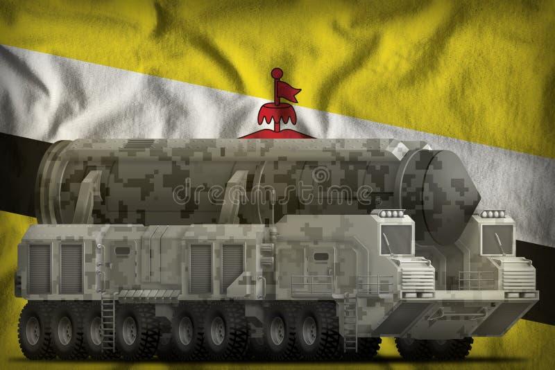 Intercontinentaal ballistisch projectiel met stadscamouflage op de nationale de vlagachtergrond van Brunei Darussalam 3D Illustra royalty-vrije illustratie