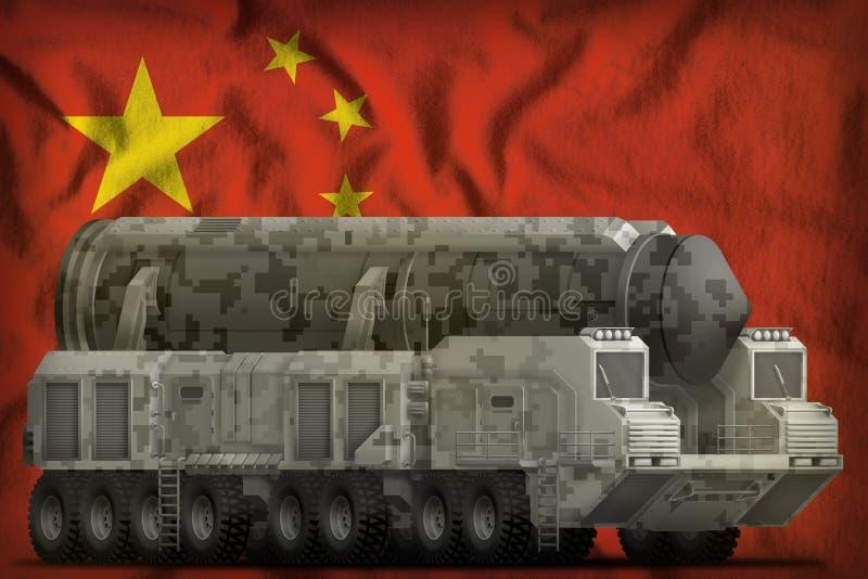 Intercontinentaal ballistisch projectiel met stadscamouflage op de nationale de vlagachtergrond van China 3D Illustratie royalty-vrije illustratie