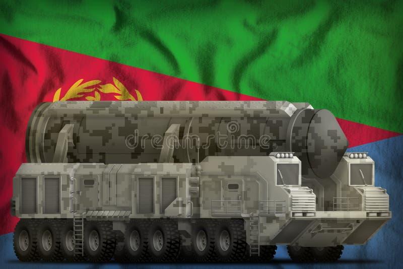 Intercontinentaal ballistisch projectiel met stadscamouflage op de nationale de vlagachtergrond van Eritrea 3D Illustratie royalty-vrije illustratie