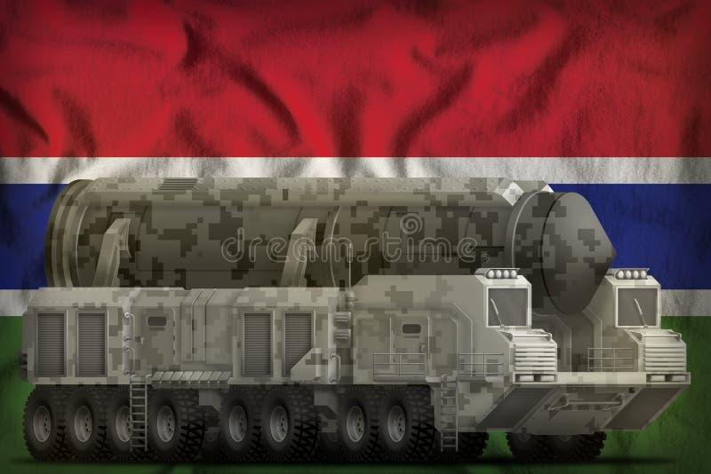 Intercontinentaal ballistisch projectiel met stadscamouflage op de nationale de vlagachtergrond van Gambia 3D Illustratie stock illustratie