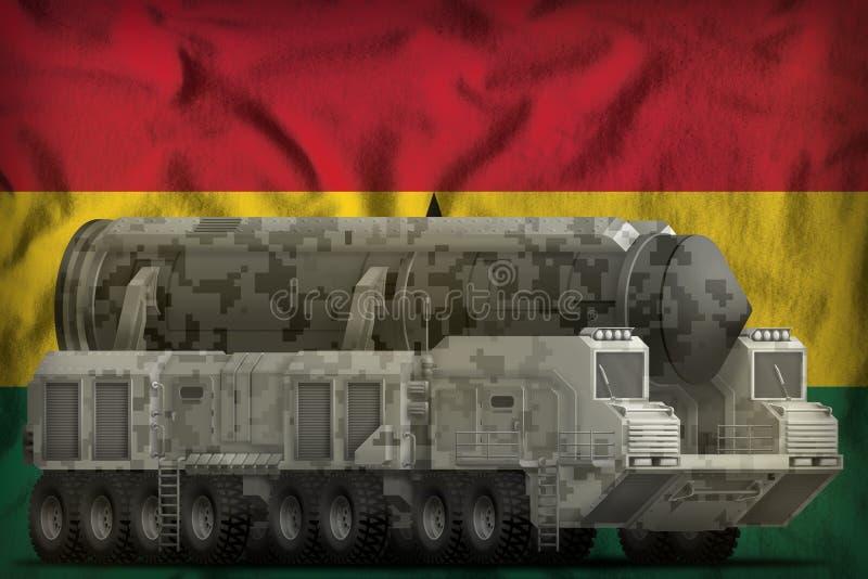 Intercontinentaal ballistisch projectiel met stadscamouflage op de nationale de vlagachtergrond van Ghana 3D Illustratie royalty-vrije illustratie