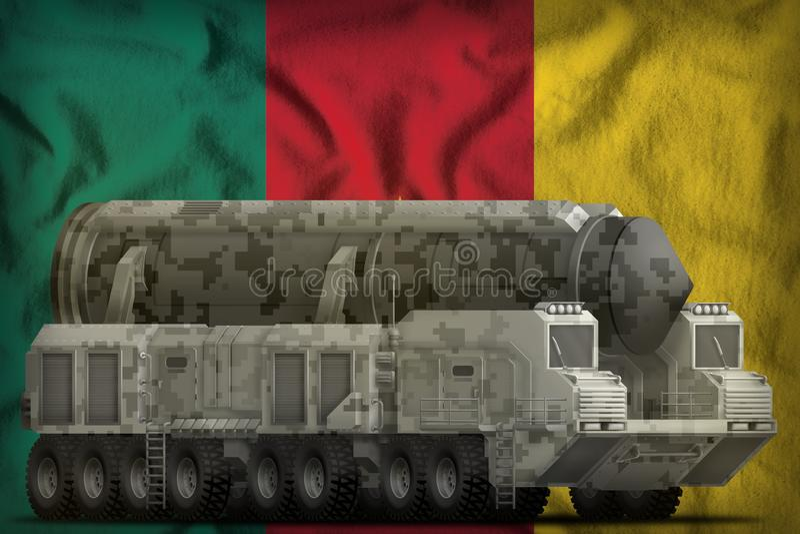 Intercontinentaal ballistisch projectiel met stadscamouflage op de nationale de vlagachtergrond van Kameroen 3D Illustratie royalty-vrije illustratie