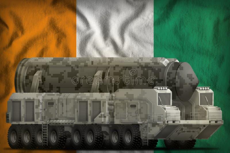 Intercontinentaal ballistisch projectiel met stadscamouflage op de nationale de vlagachtergrond van Kooid Ivoire 3D Illustratie stock illustratie