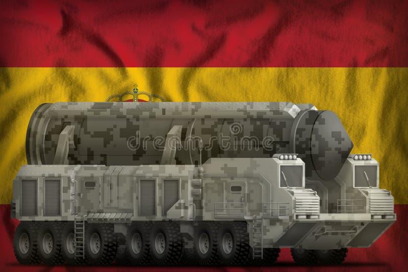 Intercontinentaal ballistisch projectiel met stadscamouflage op de nationale de vlagachtergrond van Spanje 3D Illustratie stock illustratie