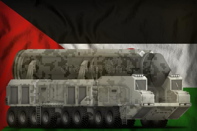 Intercontinentaal ballistisch projectiel met stadscamouflage op de Westelijke nationale de vlagachtergrond van de Sahara 3D Illus vector illustratie