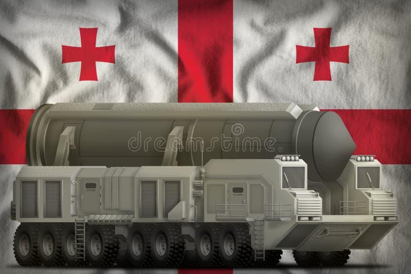 Intercontinentaal ballistisch projectiel op de nationale de vlagachtergrond van Georgië 3D Illustratie royalty-vrije illustratie