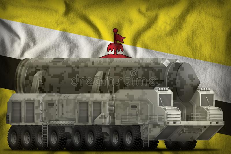 Intercontinental ballistic missile with city camouflage on the Brunei Darussalam national flag background. 3d Illustration. Intercontinental ballistic missile royalty free illustration