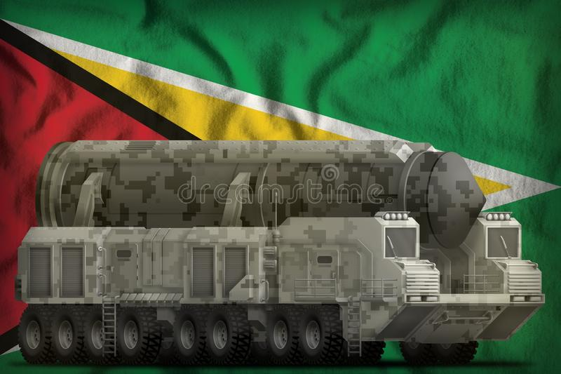 Intercontinental ballistic missile with city camouflage on the Guyana national flag background. 3d Illustration. Intercontinental ballistic missile with city royalty free stock photography