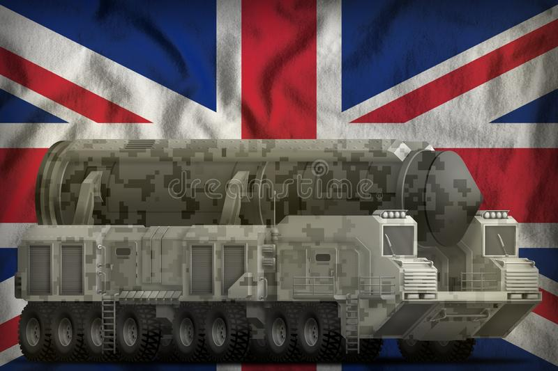 Intercontinental ballistic missile with city camouflage on the United Kingdom UK national flag background. 3d Illustration. Intercontinental ballistic missile royalty free illustration