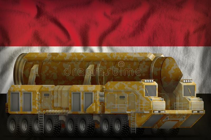 Intercontinental ballistic missile with desert camouflage on the Syrian Arab Republic national flag background. 3d Illustration vector illustration