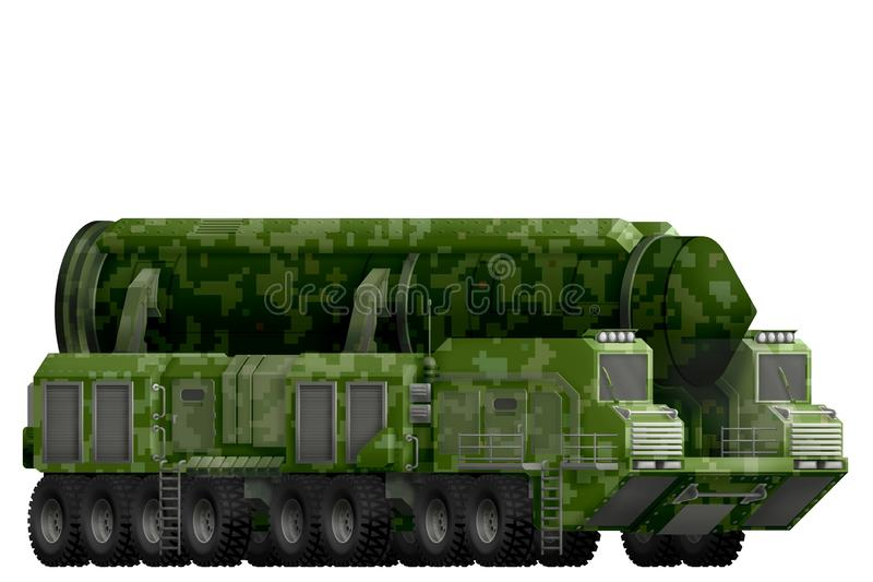 Intercontinental ballistic missile with green pixel camouflage with fictional design - isolated object on white background. 3d ill. Intercontinental ballistic vector illustration