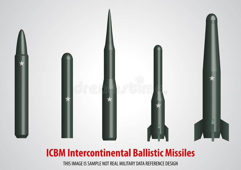 Intercontinental ballistic missile ICBM 3D. Illustration sample design stock illustration