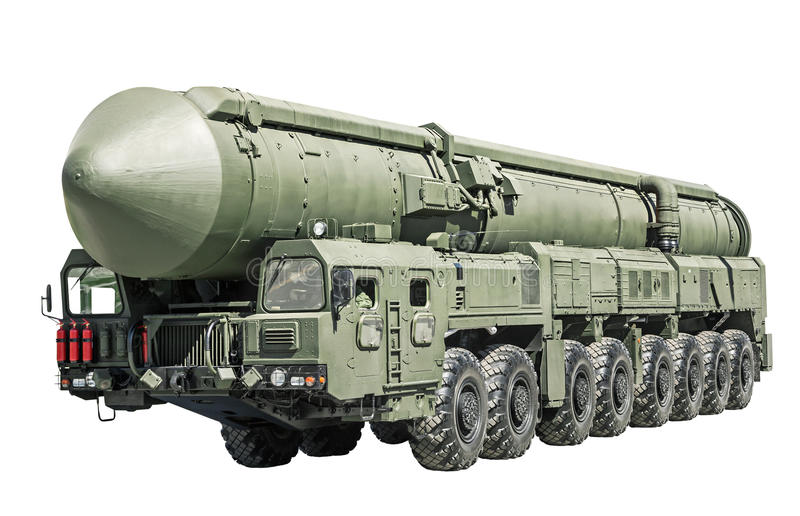 Intercontinental ballistic missile mobile. Isolated on white background. Russia royalty free stock photos