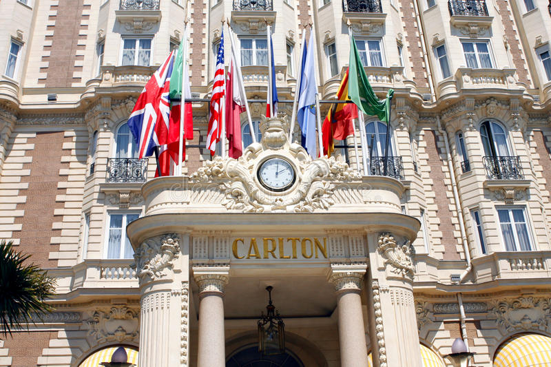 The InterContinental Carlton Cannes is Luxury hotel. Built in 1911, located at 58 La Croisette in Cannes on the French Riviera and listed by the Government of stock photo