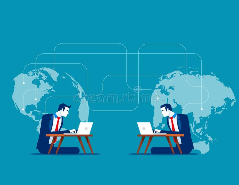 Intercontinental communications. Concept business vector illustration, Talking, Network, Online dating royalty free illustration