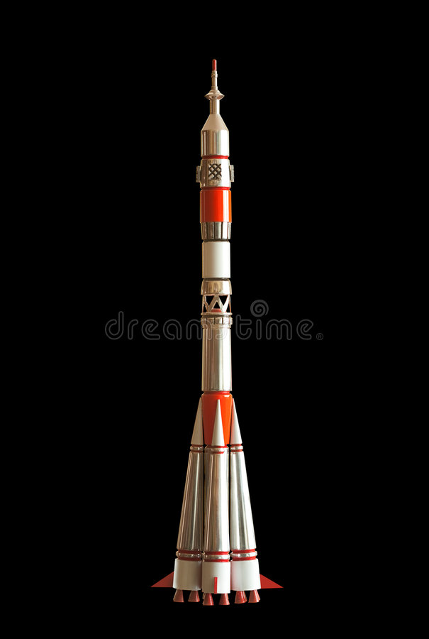 Intercontinetal ballistic missile Soyuz lancher. Intercontinetal ballistic missile Soyuz 7K-OK (11A511) lancher. Handmade souvenir. Isolated on black. Clipping stock images