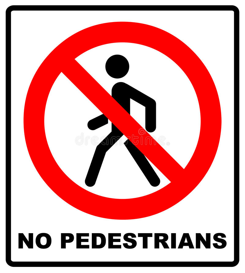 Interdiction aucun vecteur de signe de Pedestrain illustration de vecteur