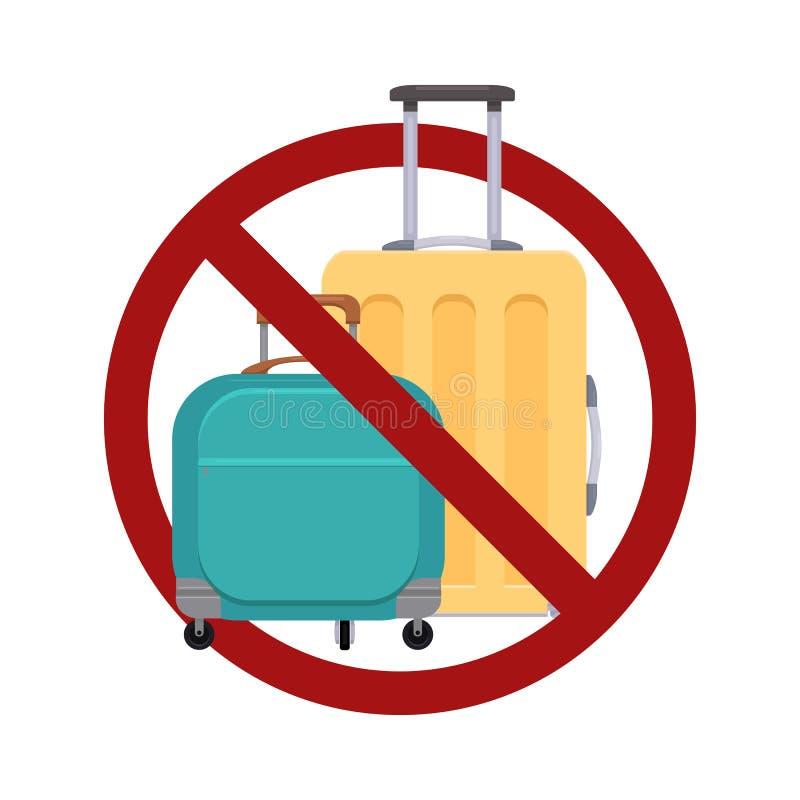 Interdiction de bagage Illustration plate des valises dans le signe d'interdiction Cargaison d'arrêt Lumi?re de voyage illustration libre de droits