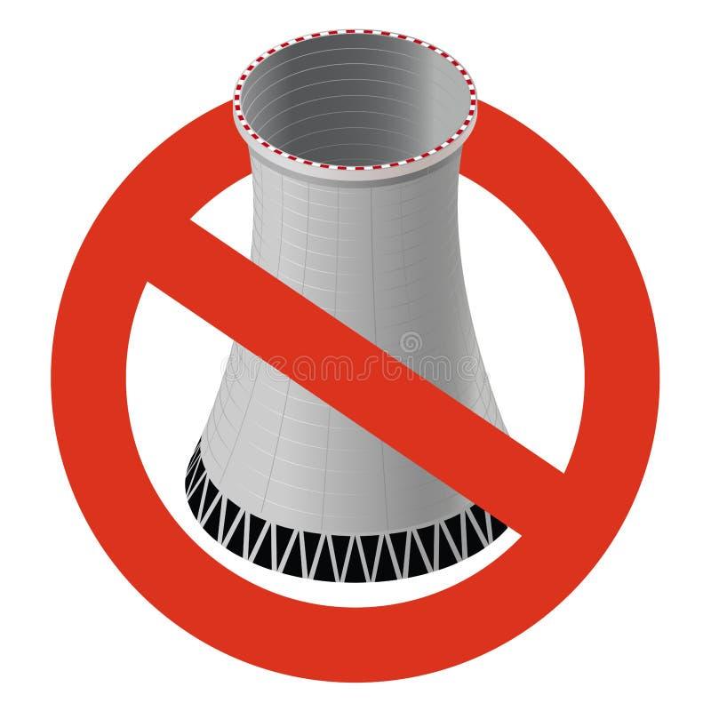 Interdiction de centrale nucléaire L'interdiction stricte de la construction de la tour de refroidissement atomique, interdisent illustration de vecteur