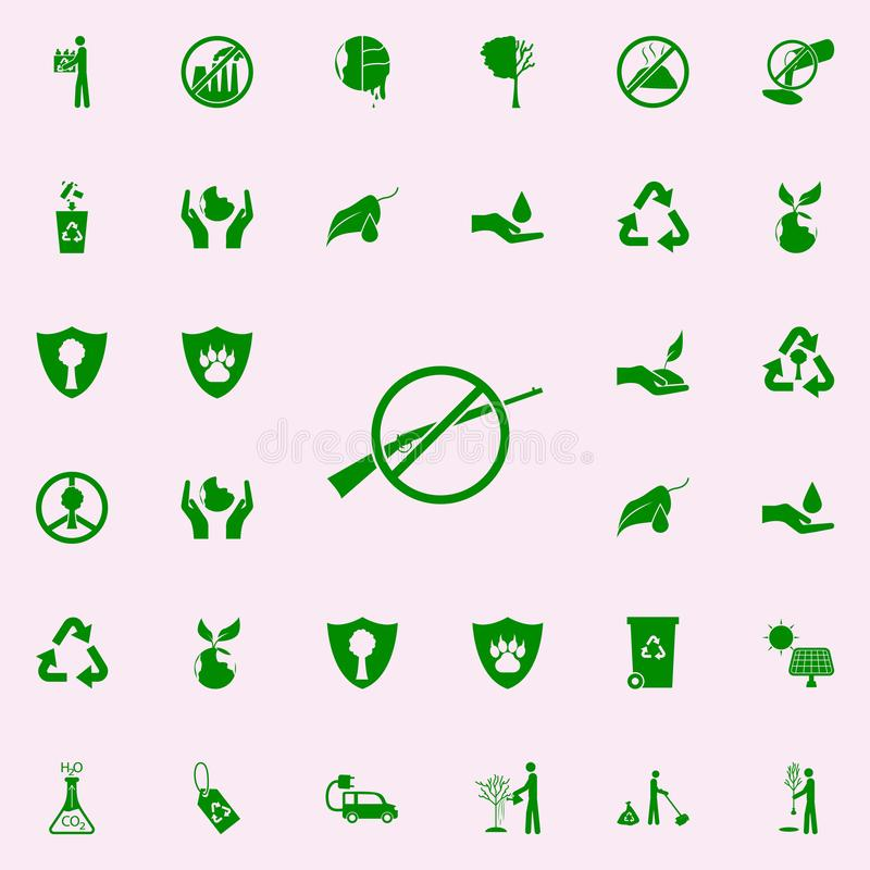 interdiction de chasser l'icône verte ensemble universel d'icônes de Greenpeace pour le Web et le mobile illustration de vecteur