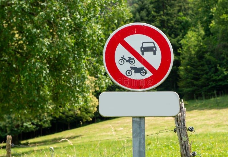 Interdiction française de signe à tous les véhicules photographie stock libre de droits