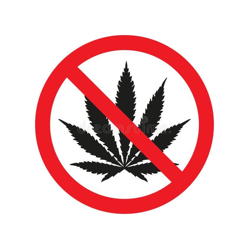 Interdisant le signe aucune entraves avec l'icône de marijuana Illustration de vecteur illustration de vecteur