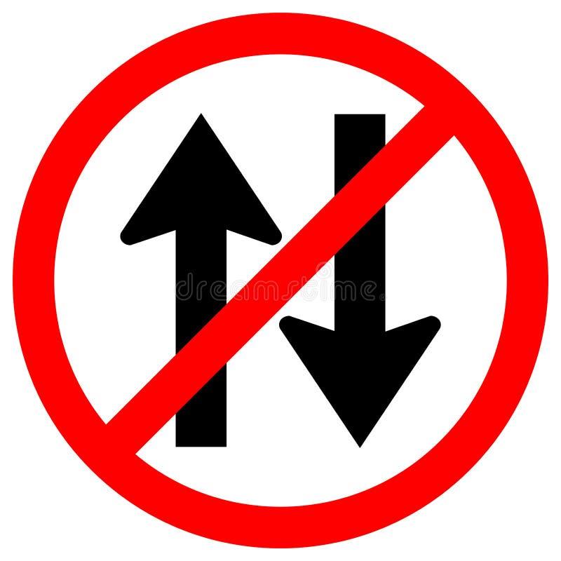 Interdisez l'isolat bi-directionnel de panneau routier du trafic sur le fond blanc, l'illustration ENV de vecteur 10 illustration libre de droits