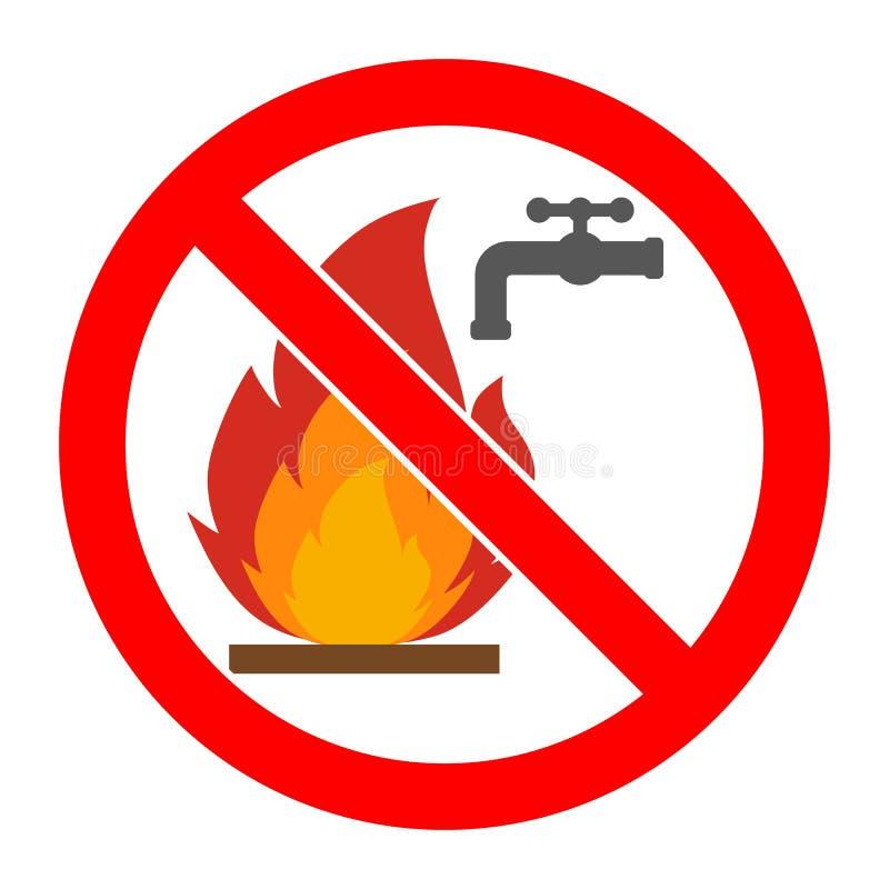 On interdit le signe de s'éteindre le feu avec de l'eau en cercle croisé rouge de sortie illustration stock