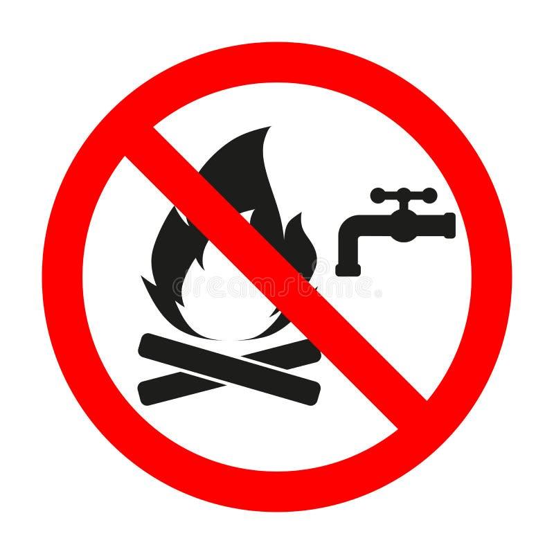 On interdit le signe de s'éteindre le feu avec de l'eau en cercle croisé rouge de sortie illustration libre de droits