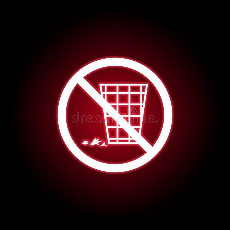 Interdit polluez l'icône dans le style au néon rouge Peut ?tre employ? pour le Web, logo, l'appli mobile, UI, UX illustration libre de droits