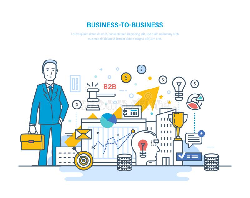 Interempresarial, comércio eletrônico, troca eletrônica, mercados de capital, mercado de valores de ação ilustração stock