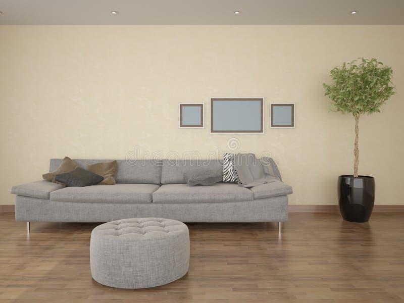 Interer com um sofá confortável ilustração do vetor
