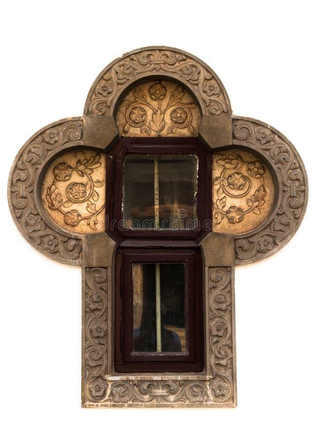Interessant kruisvormig venster royalty-vrije stock fotografie