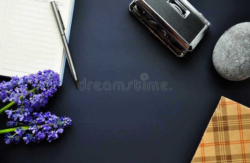 Interessante achtergrond voor de plaats Notitieboekje, pen, theaterverrekijkers, bloemen, art. Details en elementen op de randen stock afbeelding
