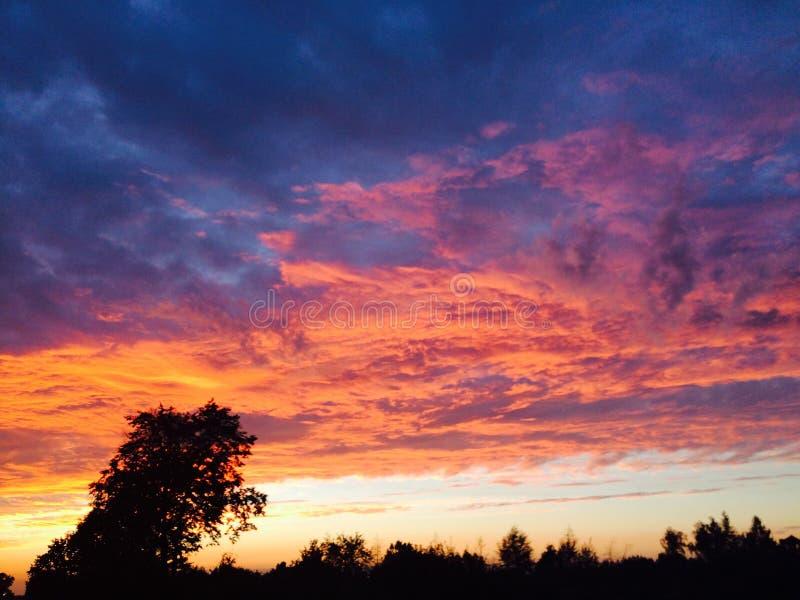 Interessante Ansicht des summerSonnenunterganghimmels stockbild