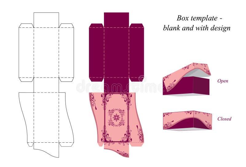 Interessante Kastenschablone, freier Raum und mit Design lizenzfreie abbildung