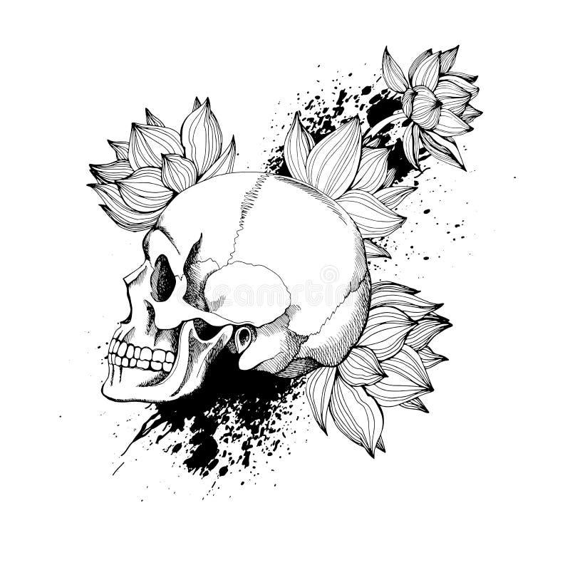 Interessante schedelvector met bloemen royalty-vrije illustratie