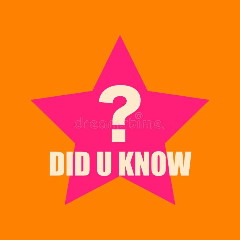 Interessante vraag De witte tekst u kende met groot vraagteken op grote roze ster oranje achtergrond royalty-vrije illustratie