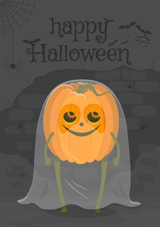 Interessanter Charakter glücklicher Halloween-Illustration in Form eines Geistkürbises stock abbildung