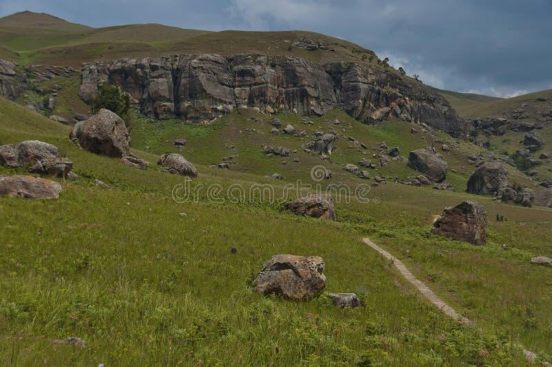 Interessanter Sedimentgestein im Giants-Schloss-Kwazulu Natal Naturreservat stockbilder