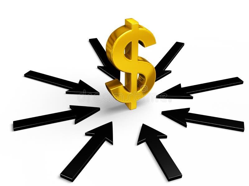 Interesse no dólar ilustração do vetor