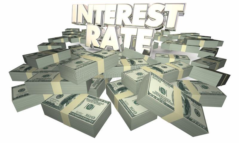 Interesse Rate Borrow Money Earn Savings illustrazione di stock