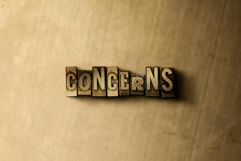 INTERESSES - close-up vintage sujo da palavra typeset no contexto do metal ilustração royalty free
