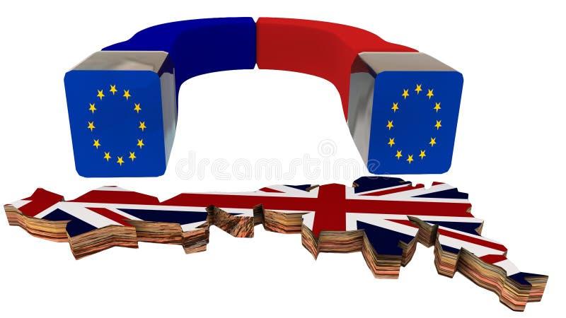Interesses dos concequenses das bandeiras do manget de Grâ Bretanha do attrack de Brexit Europa - rendição 3d foto de stock