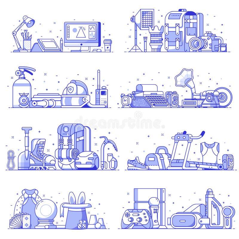 Interesses dos povos, passatempos e ícones da profissão ilustração stock