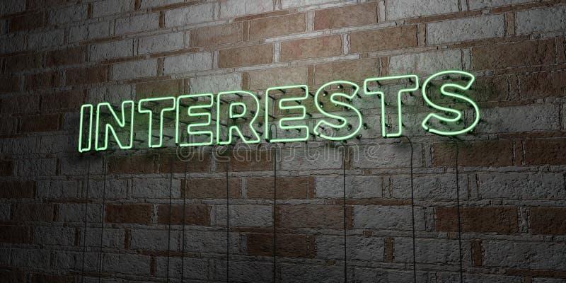 INTERESSES - Sinal de néon de incandescência na parede da alvenaria - 3D rendeu a ilustração conservada em estoque livre dos dire ilustração royalty free