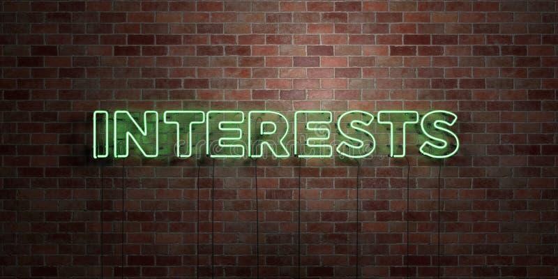 INTERESSES - sinal fluorescente do tubo de néon na alvenaria - vista dianteira - 3D rendeu a imagem conservada em estoque livre d ilustração royalty free