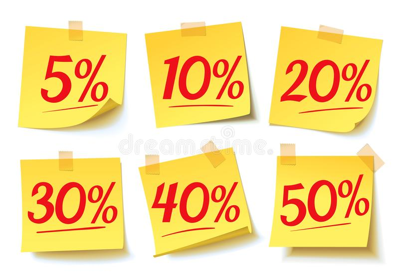 Interest discounts. Sale on the sticker. Discount percent tag. Discount price off and sales. Sale on yellow sticker. Shopping and low price symbols. Vector royalty free illustration